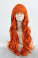 Nami kindness 65cm Orange culy long anime costume cosplay cos wig,synthetic hair,free shipping