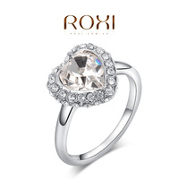 ROXI pure heart rings,platinum palted top quality make with genuine Austrian crystals, 100% hand made fashion jewelry,2010008415