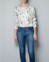 V-NECK ROLL UP SLEEVE Metal Collar FLORAL PRINTS LOOSE CHIFFON SHIRT Tops,flowers blouses