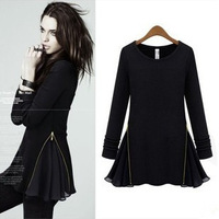 2013 women's long-sleeve o-neck fashion slim one-piece dress short skirt black wool basic skirt female