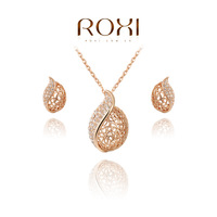 ROXI Christmas gift classical crystal set,Gift to girlfriend 100% hand made,fashion gold jewelry earrings+necklace,2070020995