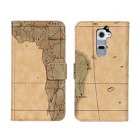 new arrival map leather flip phone case cover for LG G2 with 2 card slots