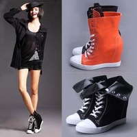 New arrivals free shipping Women brand canvas black orange wedge heel lace-up increasing height leisure sneaker d shoe
