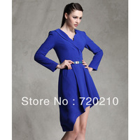 Fashion autumn and winter vintage navy blue irregular bias-cut dovetail skirt suit jacket british style clothing 9941
