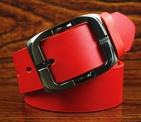 2014  leather brand belt second layer of cowskin good quality pin buckle red belt white belts for men