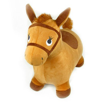 Plush fabric inflatable jumping horse flannelet - shallow brown jumping horse animal toy gift