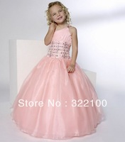 FL4266 Customized One Shoulder Pink Flower Girl Dresses For Weddings With Diamond Crystal