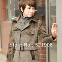 Children's clothing overcoat 2013 child woolen outerwear male child medium-long slim trench thickening thermal