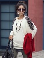 Women Long Sleeves Shirt Leopard Shoulder Casual Tops