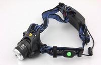 Free shipping 2000 Lumens CREE XM-L XML T6 LED Headlamp Headlight Flashlight Head Lamp Light 18650 + Charger for Hunting Camping