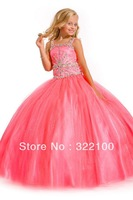 FL4274 Fabulous Full Length Ball Gown Girl Dress Peach Color Crystal Beadings Victorian Flower Girl Dresses
