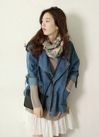 2013 vintage denim outerwear long design loose female all-match long-sleeve top