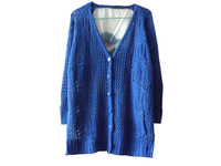 2013 New women Autumn fashion hollow out medium long back chiffon wool cardigans sweaters  coats outerwear