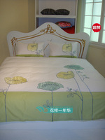 fashion popular embroidered duvet cover pillow case bedding 210*210cm+48*74cm*2