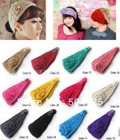 min mix order is $10-- warm winter floral knit crochet head wrap ear warmer headband elegant lady tone
