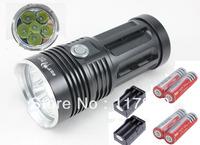 HK Post Free Skyray King Flashlight 3 Mode 8000 Lumen 6 x CREE XM-L T6 LED Flashlight + 4*18650 4000mAh Battery+ 2*Dual Charger