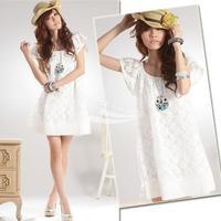 New 2014 women's Sweet Fashion Cozy Lace Dress Short Sleeve shipping 2002