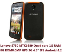 There-Proof Smartphone Lenovo S750 MTK6589 Quad core 1G RAM 8.0MP Camera GPS 3G Cellphone 4.5 inch IPS Android 4.2