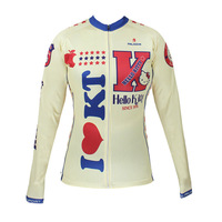 HelloKitty Womens Long Sleeve Cycling Jerseys Bike Cycle Clothing Rider Apparel