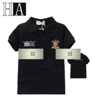 Wholesale New Baby Boys Girls Black Polo Shirt Children Summer Turn-down Collar Tee Shirt Kids Fashion Handsome Tops 5 Pcs/Lot