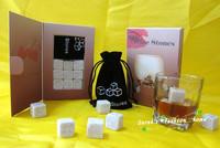 2 sets/lot, 2013 New Whisky Stones,Whisky Drink Cooling Ice Melts Rocks, 9 pcs/set