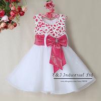 New Arrival Christmas Gir Dress Hot Pink Princess Bow Chiffon Dresses Chidren Popular Clothes New year dressGD31115-28