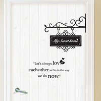 Lovely entry door cartoon doors and windows wooden door wall stickers