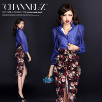 Channel-z crus autumn and winter fashion elegant royal turn-down collar buttons lace lining puff sleeve shirt