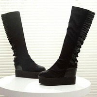 Top Selling! 9 cm Wedges Heel Flatform PU Cartoon Mid-Calf Black Boots,Women Increase Shoes Big Size Free Shipping