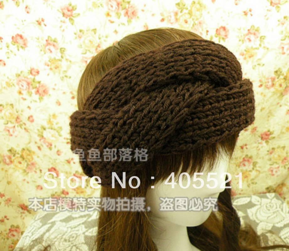 Wholesale twist style knitted headband wide crochet hair band- Handmade tenia braid head wrap(China (Mainland))