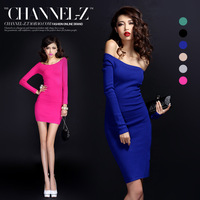 Channel-z crus autumn and winter fashion sexy strapless long-sleeve slim hip slim knitted one-piece dress