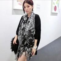 2014 happyatmic women's scarf Pashmina shawl big thicken chiffon wrap skull pattern 180*140 150g