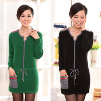 2013 autumn and winter slim women's Women autumn and winter medium-long sweater outerwear