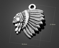 Free shipping fashion accessories 22*18.2mm20pcs/bag alloy antique silver vintage aborigin head shape charms for jewelry crafts