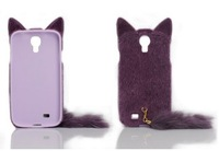 Cute 3D Fluffy Plush Tail Cat Flexible TPU Case Cover For Samsung Galaxy S4 IV i9500