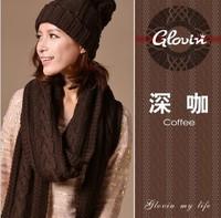 HOT SELLING Women winter Set 3pcs set Knitted fashion Girls Scraf Hat Gloves Set Christmas Gift girls fashion Free Shipping