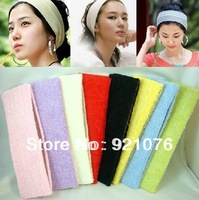 "Free Shipping Adult Toweling Elastic Headbands,Soft Stretch Headband 2.56"" Width. Yoga/Facial Spa/Exercising Headband xth048"