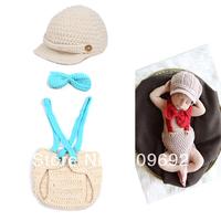 Latest Crochet Baby Photo Props Boy Gentlemen Set Boy Crochet Diaper Cover Suspenders Bowtie Set  1set Free Shipping MZS-073