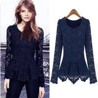 Autumn fashion lace patchwork lace shirt female medium-long slim o-neck long-sleeve basic shirt top