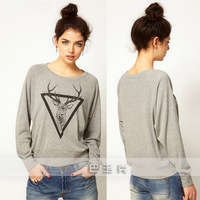 2013 autumn winter new fashion casual deer print pullover sweatshirts women top t shirts M L XL Grey Wholesale free shipping