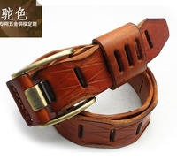 New fashion cow leather unisex waist belts ,100% genuine leather straps pink buckle wholesale F75