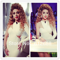 2014 Myriam Fares Wear Black Lace Tulle and White Chiffon Long Sleeves High Neck Sheath Knee Length Homecoming Dresses