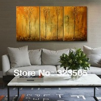 3 piece large canvas wall art Modern abstract panel yellow tree artwork picture oil painting on canvas living room free shipping