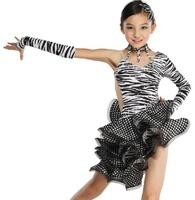Classic Zebra-Stripe girl Latin Dance Dress Sexy Child/Kid One-Shoulder Cha-Cha Modern Competition Costume Mixed Sizes