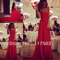 2014 High Quality Red Sweetheart Long Train Chiffon Formal Events Evening Dress Women Free Shipping WL169