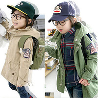 2013 autumn and spring boys clothing male children medium-long long sleeve hooded trench outerwear cotton jacket