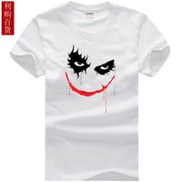 Men's short sleeve T-shirt joker batman Clown. Pure cotton Round collar white fashion