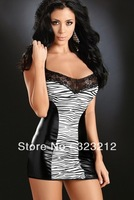 Hot sell! low price zebra-stripe leather lingerie,sexy lingerie,sexy dress