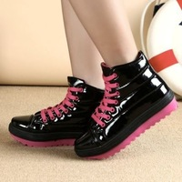 Women Winter Cute Patent Leather Smart Studded Platform Casual Sneakers (size 35-39) 6724