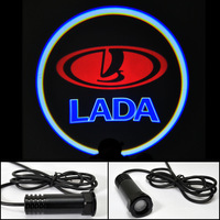 Car LED Door Lights For LADA Red Car LOGO Door Prejection Auto Shadow Light Laser Lamp Free HK Post
